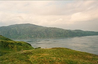 "Scandinavian Scotland - The Gulf of Corryvreckan between Jura and Scarba. According to tradition ""Prince Breacan of Lochlann"" was shipwrecked there with a fleet of fifty ships."