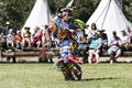 Scene from authentic Native American dances at the Indian Village on the rodeo grounds of the Cheyenne Frontier Days celebration in the Wyoming capital city LCCN2015633294.tif