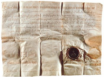 Donation deed of Otto III.  from the year 993 with the first mention of Potsdam