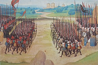 Battle of Agincourt - The Battle of Agincourt, 15th-century miniature, Enguerrand de Monstrelet