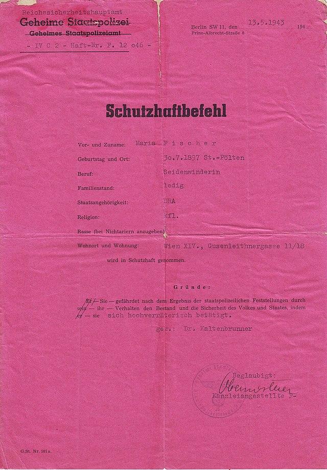 640px-Schutzhaftbefehl_Maria_Fischer_-_Original.jpg