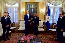 Secretary Kerry Poses for a Photo With Dominican President Medina at the Presidential Palace in Santo Domingo (27597883921).jpg