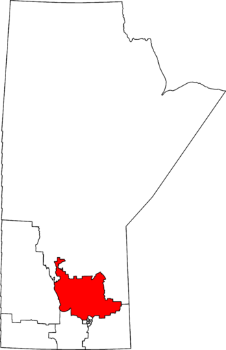 Selkirk—Interlake—Eastman - Selkirk—Interlake—Eastman in relation to other Manitoba federal electoral districts as of the 2013 Representation Order.
