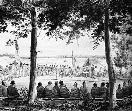 Pawnees in a parley with Major Long's expedition at Engineer Cantonment, near Council Bluffs, Iowa, in October 1819. Seymour Pawnees 1819.jpg