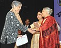 Sheila Dikshit felicitated the outstanding women employees of Railways, at the Women's Day Award function, organized by the Railway Women's Welfare Central Organisation, in New Delhi on March 08, 2011.jpg