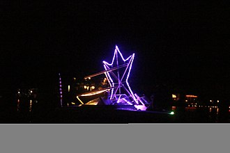 Crystal Lake (Gilmanton, New Hampshire) - Boat participating in annual Illuma-Night festivities (mid-August)