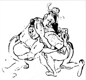 Shuai jiao - A wrestling match during the Tang Dynasty.