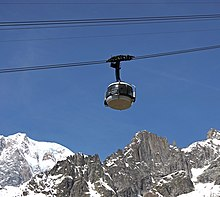 cable car cabin with snowy mountains and clear skies