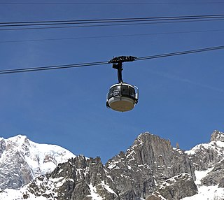 Skyway Monte Bianco Cable car on Mont Blanc in Italy