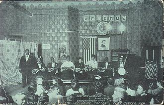 African-American music - The Slayton Jubilee Singers entertain employees of the Old Trusty Incubator Factory, Clay Center, about 1910