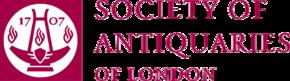 La oficiala emblemo de la Socio de Antiquaries de Londono (registrita bonfarado 207237).