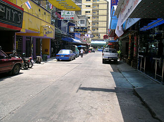 Soi Cowboy - Soi Cowboy during the day, with Fanny's, Dollhouse and Midnite Bar visible on the left