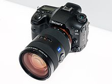 Sony Alpha ILCA-99M2 front-forlasis 2017 CP+.jpg
