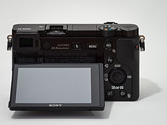 Sony Alpha ILCE-6000 APS-C-frame camera rear screen tilted.jpg