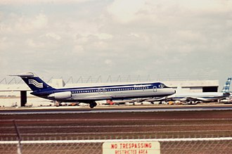 Southern Airways Flight 242 - N1335U, the aircraft involved in the accident, at Los Angeles International Airport.