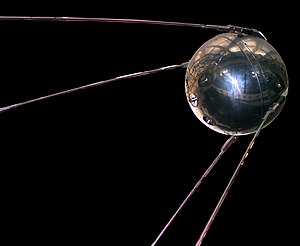 A replica of Sputnik 1, the first artificial s...
