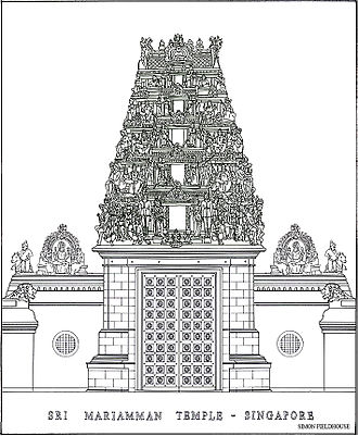 Sri Mariamman Temple, Singapore - A line drawing of Sri Mariamman Temple