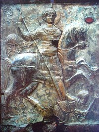 St George spearing Diocletian (11th c., Georgia)