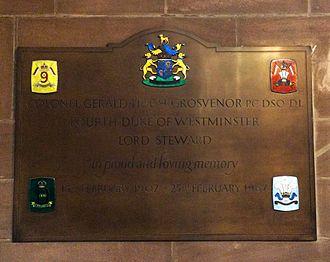 Gerald Grosvenor, 4th Duke of Westminster - The 4th Duke of Westminster's memorial in Eccleston Church