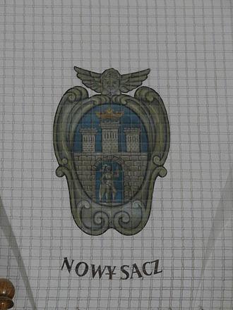 Coat of arms of Nowy Sącz - Coat of arms of Nowy Sącz 1820 - 1987, in the Kraków Cloth Hall