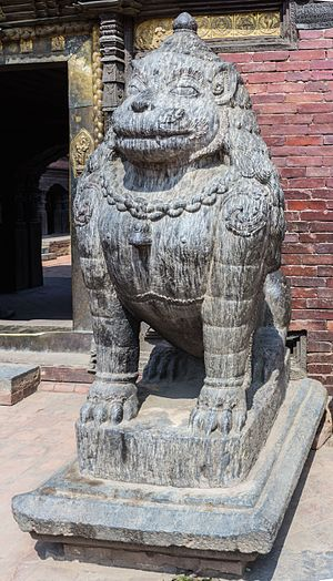 Patan Durbar Square - Statue of Lion in Patan Durbar Square