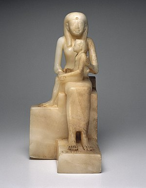 Ankhesenpepi II - Statuette of Queen Ankhnes-meryre II and her Son, Pepy II, ca. 2288-2224 or 2194 B.C.E. Egyptian alabaster, Brooklyn Museum