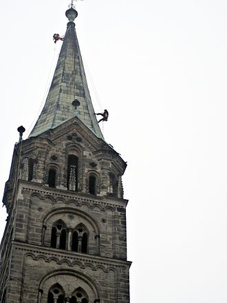 Steeplejack - Steeplejacks abseiling on one of the towers of Bamberg Cathedral