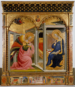 Stefano d'Antonio di Vanni - The Annunciation by Stefano d'Antonio di Vanni, altarpiece, Walters Art Museum, 1430