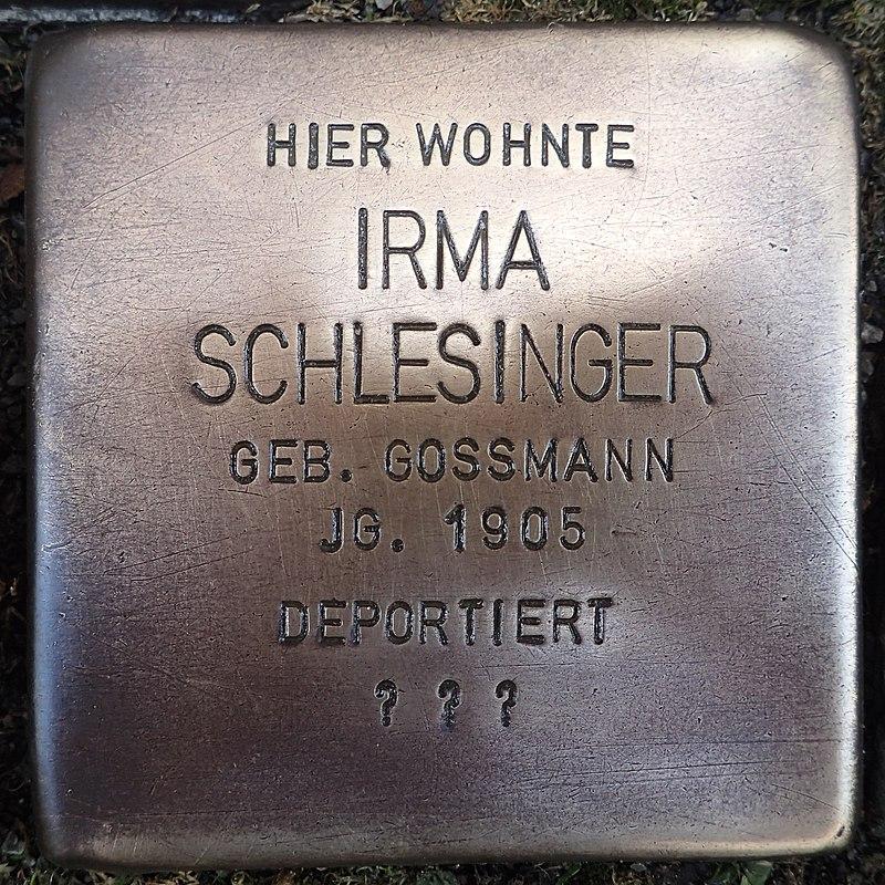 Stolperstein für Irma Schlesinger geb. Gossmann