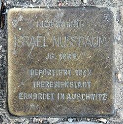 Photo of Israel Nussbaum brass plaque