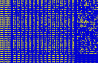 """Stoned (computer virus) - Hexcode showing """"Your PC is now Stoned!"""" statement at the last 512-byte sector of Master Boot Record"""