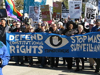 """Reactions to global surveillance disclosures - """"Stop Watching US"""" rally in Washington DC, October 26, 2013"""