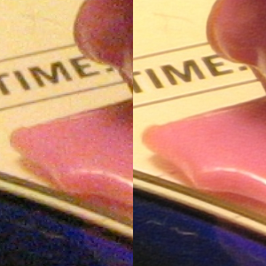 Super-resolution imaging - Compared to a single image marred by noise during its acquisition or transmission (left), the signal-to-noise ratio is improved by suitable combination of several separately-obtained images (right). This can be achieved only within the intrinsic resolution capability of the imaging process for revealing such detail.