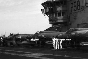 Super Etendards on carrier Clemenceau (R98) 1988.JPEG