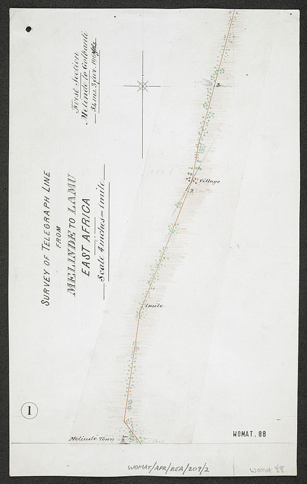 600px survey of telegraph line from melinde to lamu east africa. %28womat afr bea 209 2 1%29