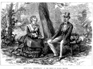 Illustrated Sporting and Dramatic News - Wood-engraving by D. H. Friston of a scene from W. S. Gilbert's play Sweethearts, from the issue of 24 November 1874
