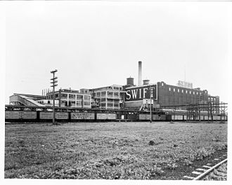 Gustavus Franklin Swift - A view of the Swift Brands Sioux City, Iowa meat packing plant, circa 1917. All but one of the refrigerator cars in the photo bear the markings of the Swift Refrigerator Line.