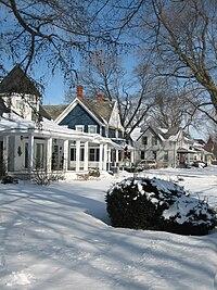 Snow street scene in the Sycamore Historic District in Illinois