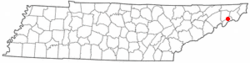 Location of Erwin, Tennessee