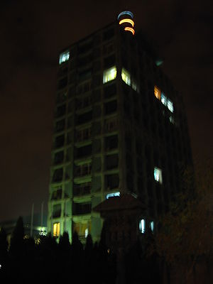Romanian Television - Main building of the TVR in Bucharest at night (Nov 2006).
