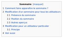 Aide sommaire d 39 un article wikip dia - Exemple table des matieres ...