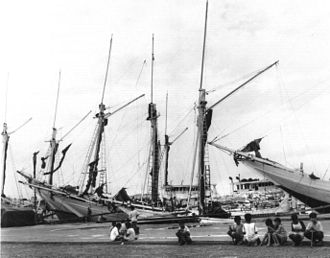 Pinisi - Pinisi boats at the port of Paotere in Makassar, 1994