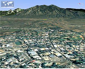 Taos, New Mexico - View north from Taos Plaza toward Taos Mountain