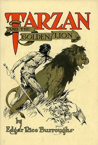 Tarzan and the Golden Lion - Dust-jacket illustration of Tarzan and the Golden Lion