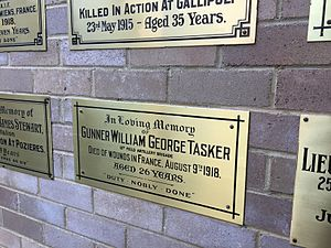 William Tasker - Tasker's memorial plaque at Newington College