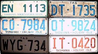 Vehicle registration plates of Tasmania - Older Tasmanian registration plates
