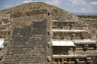 Temple of the Feathered Serpent, Teotihuacan - Pyramid of the Feathered Serpent, from the top of the Adosada platform.