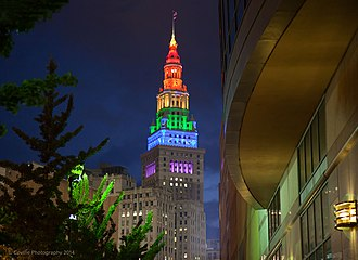 Terminal Tower - The tower lit up in rainbow colors in honor of Cleveland hosting the 2014 Gay Games in August 2014.