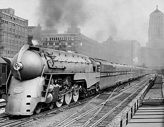 New York Central Railroad - The streamlined 20th Century Limited with a NYC Hudson locomotive, 1938
