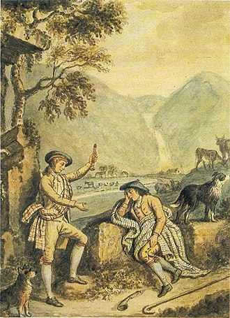 Blue bonnet (hat) - The Craigy Bield, by David Allan. Two Lowland shepherds of the 18th century, wearing variations on the blue bonnet.